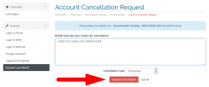 How do i request cancellation of any service from client areaV