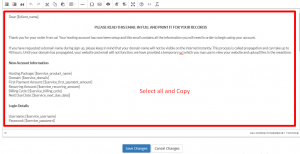 Creating a new email template in WHMCS