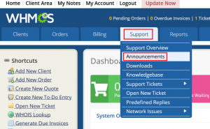 How to create Announcements in WHMCS