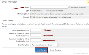 HOW TO SETUP EMAIL MARKETER RULE IN WHMCS