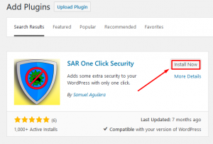 how to secure wordpress with SAR One Click security plugin