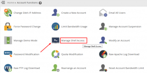 HOW DO I DISABLE SHELL ACCESS FOR ALL ACCOUNTS IN WHM