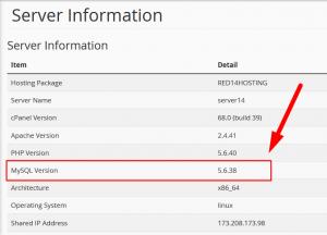 How to Find MySQL version through cPanel interface