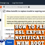 HOW TO PREVENT SSL EXPIRY EMAIL NOTIFICATION IN WHM ROOT