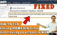 Sorry the home directory root/home does not exist| Missing HOMEDIR