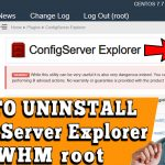 HOW TO UNINSTALL CONFIGSERVER EXPLORER IN WHM ROOT