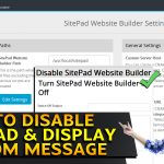 How to Disable Sitepad & display custom message