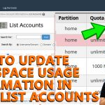 How to update disk space usage information in WHM List account
