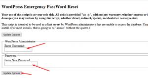 reset wp-admin password using Emergency password reset script in cPanel