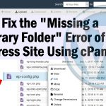 Missing a Temporary Folder Error in WordPress