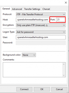 How to login FTP with FileZilla using cPanel login details