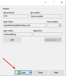 How to login FTP with WinSCP by using cPanel login details
