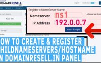 how to create and register child nameservers/hostname in domainresell.in panel