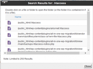 How to find .htaccess file in cPanel and then disable it