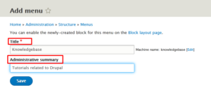 How to Add Menu in Drupal website